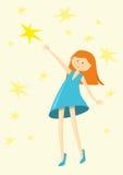 Flickan fångar en stjärna Royaltyfri Bild