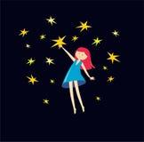 Flickan fångar stjärnor också vektor för coreldrawillustration Nätt flicka Arkivbilder