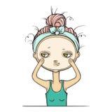 Flickan får en ansiktsbehandling, isolerad ansikts- behandling royaltyfri illustrationer