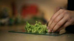 Flickan för den unga kvinnan skivar grönsallat på ett glass bräde I kök arkivfilmer