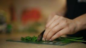 Flickan för den unga kvinnan skivar persilja på ett glass bräde i köket stock video