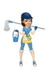 flickan för torkduken för cleaning för den asiatiska flaskan för bakgrund härliga isolerade den caucasian gulliga roliga ladyen b Fotografering för Bildbyråer