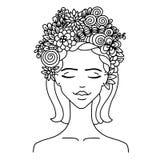 Flickan för vektorillustrationzentangl med blommor i henne hör Anti--spänning för färgläggningbok för vuxna människor svart white Royaltyfria Foton