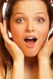 flickan förvånade Fotografering för Bildbyråer