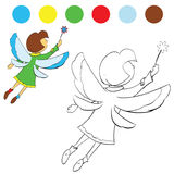 Flickan fladdrar dess vingar för att måla barn royaltyfri illustrationer