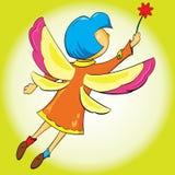 Flickan fladdrar dess vingar som flyger i luften vektor illustrationer