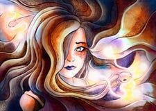 Flickan från håret, som kommer fisken med den glödande mustaschen som är sy vektor illustrationer