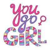 flickan går dig Feministisk bokstäver Stock Illustrationer