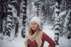 Flickan går på vinterskogen Arkivfoto