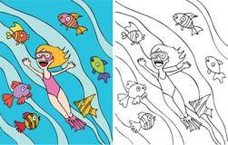 flickan går snorkeling royaltyfri illustrationer