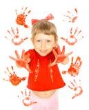 flickan gömma i handflatan tryck Fotografering för Bildbyråer
