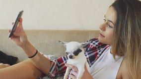 Flickan gör fotoet med hunden stock video