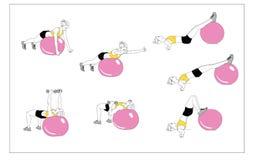 Flickan gör sportövningar med konditionbollen Följd av förehavanden royaltyfri illustrationer