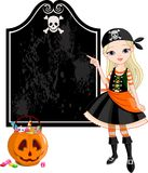 flickan halloween piratkopierar att peka stock illustrationer