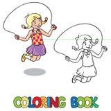 Flickan hoppar med repet för färgläggningdiagram för bok färgrik illustration royaltyfri illustrationer