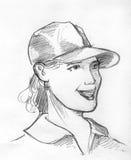 Flickan i baseballmössablyertspenna skissar Arkivbild