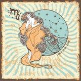 Flickan i den grekiska chitonen och det flödande håret  stå Tappninghoroskopkort Royaltyfria Bilder