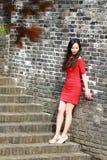 Flickan i den röda klänningen stod på väggen av Ming Dynasty Royaltyfri Bild