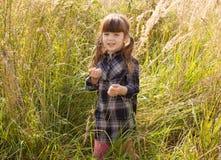 Flickan i det högväxta gräset i nedgången Fotografering för Bildbyråer