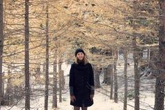 Flickan i det svarta laget, den svarta rät maskahatten, bruna handskar, står i den gula pinjeskogen i vinter Arkivfoton
