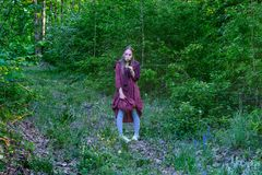 Flickan i en bordeauxklänning i trät royaltyfri fotografi