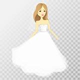 Flickan i en bröllopsklänning på en genomskinlig bakgrund vektor stock illustrationer