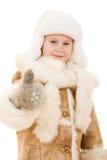 Flickan i en gest av varma kläder visar okay royaltyfria foton