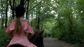 Flickan i en rosa klänning och hjälm rider en brun häst på bakgrunden av träd och lövverk tillbaka sikt 4K video 4K lager videofilmer