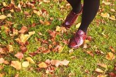 Flickan i en sko går i parkera Royaltyfri Fotografi