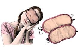 Flickan i en sova man poserar med vippat på head och att bära en sömnmaskering och därefter två sömnmaskeringar Royaltyfria Bilder