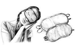 Flickan i en sova man poserar med vippat på head och att bära en sömnmaskering och därefter två sömnmaskeringar Royaltyfri Foto