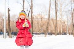 Flickan i en vinter parkerar royaltyfri fotografi