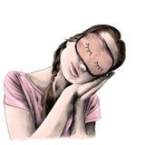 Flickan i enskjorta med flätade trådar på hennes huvud och en maskering för att sova Fotografering för Bildbyråer