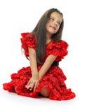 Flickan i ett rött (serier) Fotografering för Bildbyråer