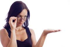 Flickan i exponeringsglas Arkivbilder
