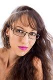 Flickan i exponeringsglas Fotografering för Bildbyråer