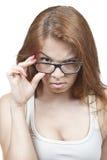 Flickan i exponeringsglas. Royaltyfri Bild