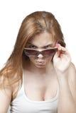 Flickan i exponeringsglas. Fotografering för Bildbyråer