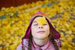 Flickan i höstkläder och rolig hatt på bakgrunden av guling lämnar att se upp till rätten royaltyfri bild