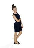 Flickan i mörker - blå klänning royaltyfri foto