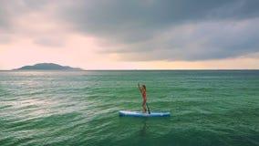 Flickan i röd bikini surfar på paddleboard bland havet stock video