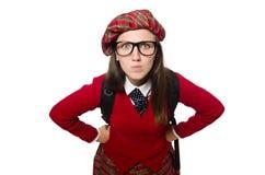 Flickan i skotska tartankläder som isoleras på vit Royaltyfri Fotografi