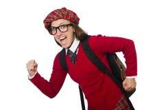 Flickan i skotska tartankläder som isoleras på vit Arkivbilder