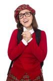 Flickan i skotska tartankläder som isoleras på vit Arkivfoton