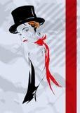 Flickan i stil av kabareten Royaltyfria Bilder