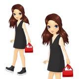 Flickan i svart klänning och snör åt kjolen royaltyfri illustrationer