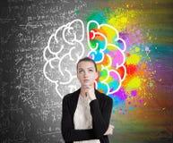 Flickan i svart kofta och hjärnan skissar arkivfoto