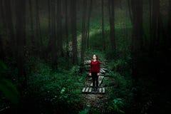 Flickan i träna Enkelt träd i dimma Royaltyfri Bild
