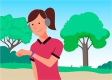 Flickan kör i parkerar Konstillustration vektor illustrationer