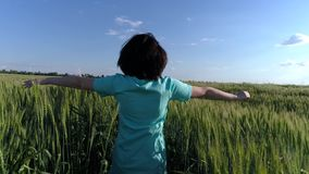 Flickan kör längs den gröna veteåkern lager videofilmer